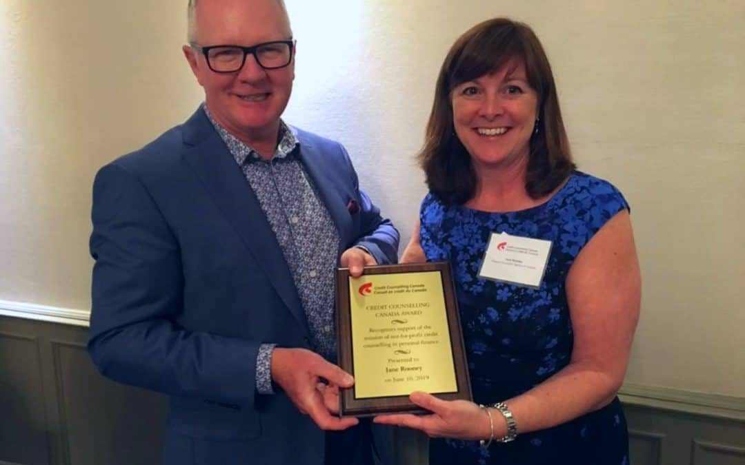 Jane Rooney Recipient of Credit Counselling Canada Award